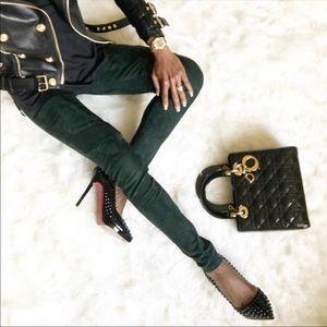 Balmain Green Suede Pants